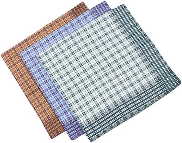 GYZCZX 3PCs Cotton Handkerchief Grid Checker for Gentlmen Vintage Business Gentleman Pocket