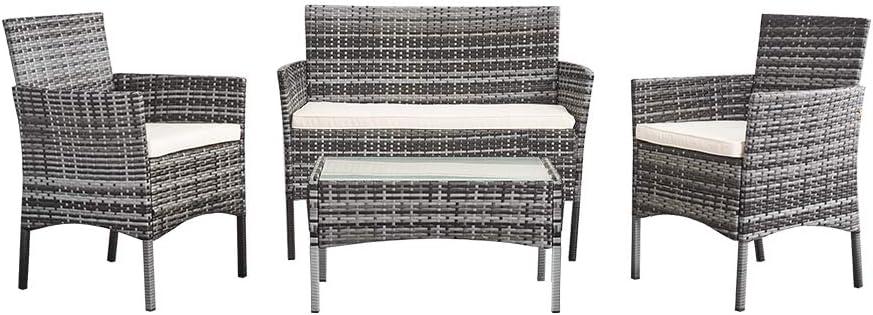 Conjunto de salón de jardín mesa 1 sofá 2 plazas 2 sillas de resina trenzada ratán para jardín, balcón, gris