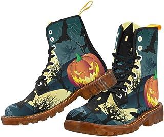 Artsadd Fashion Shoes Halloween Pumpkin Lace Up Boots for Women