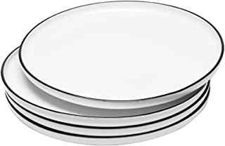 BonNoces 10 Inch Porcelain Dinner Plate, Elegant White with Black Edges Design, Classic Round Serving Plate Set for Steak,...