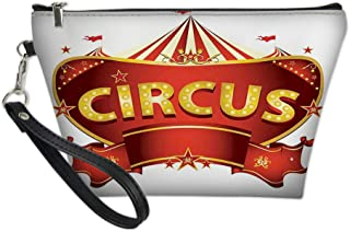 Women Travel Cosmetic Bag,A Circus Sign Baroque Style Big Top Enjoyment Theme Marquee Nightlife Retro,Fashion Pencil Case Pouch Makeup Bags