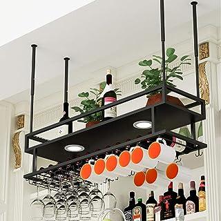 Ybzx Supports à Verres, unité de Bar Étagères flottantes Plafond réglable en Hauteur - Casiers à vin de Style étagères Mul...