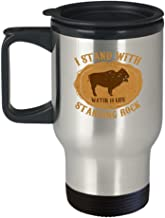 Native American Travel Mug - I Stand with Standing Rock - Buffalo Lover Gift - 14 oz Stainless Steel Coffee Cup