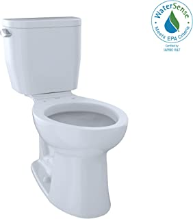 TOTO CST244EF#01 Entrada Two-Piece Elongated 1.28 GPF Universal Height Toilet, Cotton White