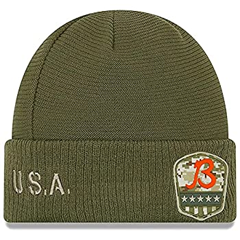 New Era Men s Olive Chicago Bears 2019 Salute to Service Sideline Cuffed Knit Hat - B