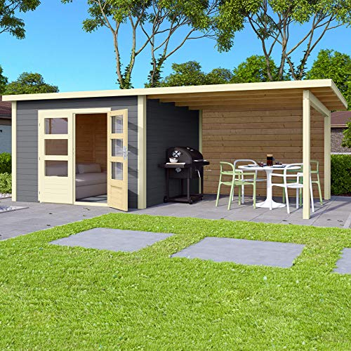 *HORI® Gartenhaus I Gerätehaus Skagen aus Holz mit Anbau I nordische Fichte terragrau I 575 x 275 cm – 28 mm Bohlenstärke*