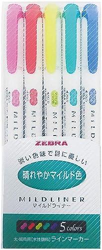 Zebra Highlighter Mildliner, 5 Bright Color Set (WKT7-5C-HC)