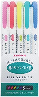 Zebra Highlighter Mildliner, 5 Bright Color Set (WKT7-5C-HC)