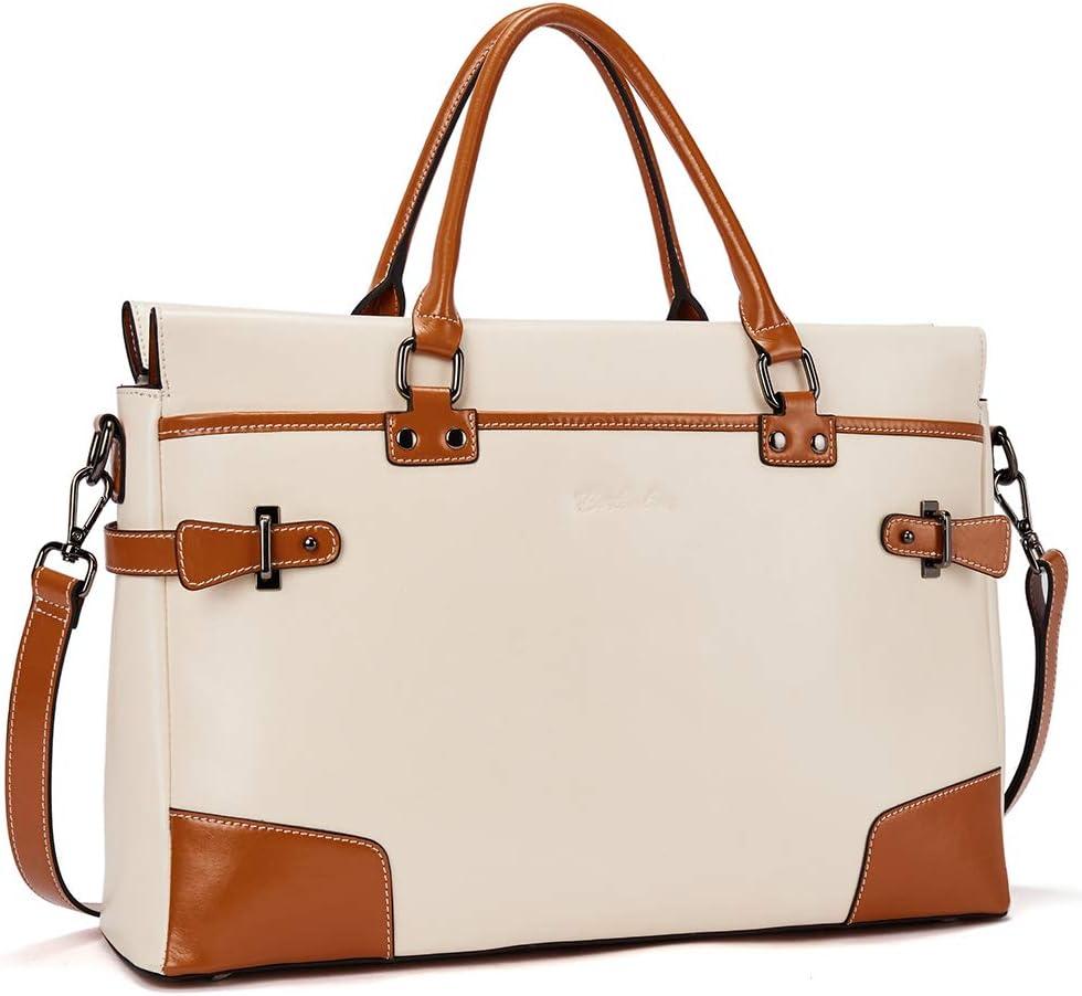 BOSTANTEN Leather Briefcase Messenger Satchel Bags Laptop Handbags for Women Beige