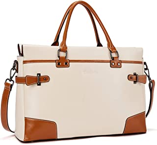 BOSTANTEN Leather Briefcase Messenger Satchel Bags Laptop Handbags for Women Beige
