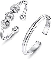 LOLIAS 2 STK. 925 Sterling Silber Angst Ringe für Damen Spinner Band Ringe Zappeln Friedensringe für Anxiety Ring Sorgen...