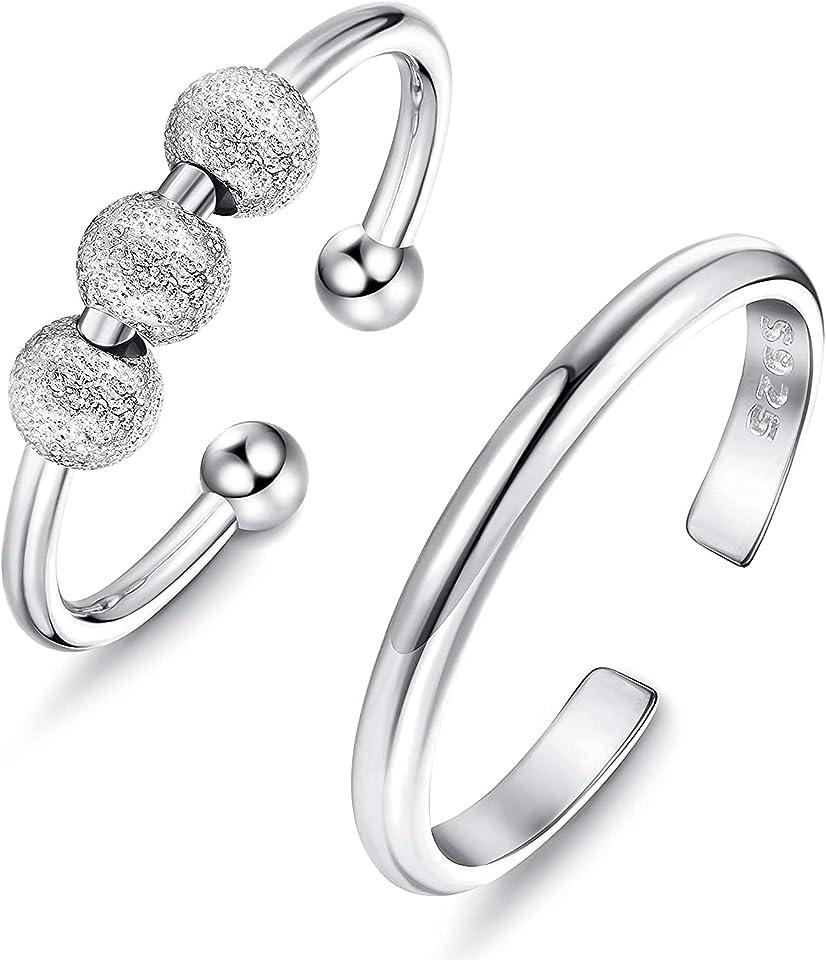 2 STK. 925 Sterling Silber Angst Ringe für Damen Spinner Band Ringe Zappeln Friedensringe für Anxiety Ring Sorgen Dünne Offene Feste Ringe Verstellbare Stapelbare Ringe Set