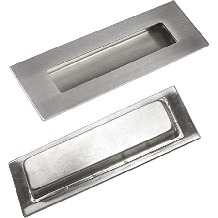 Stainless Steel Rectangular Drawer Door Flush Recessed Pull Handle 140mm x 40mm