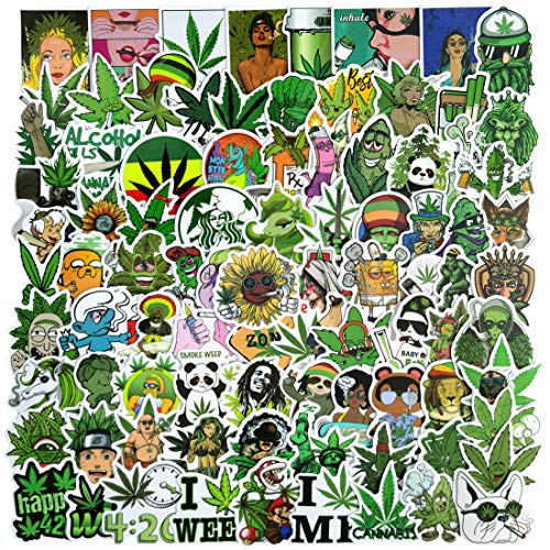 100Pcs Weeds Stickers, Waterproof Stickers for Adults, Vinyl Decals for Water Bottles, Computer, Phone, Laptop, Car (A-Weeds)