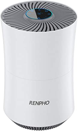 RENPHO 空気清浄機 小型 花粉 PM2.5 ホコリ 対策 微粒子99.97%除去 小型 12畳対応 イオン発生 空気清浄器 静音 スリープモード/自動モード/タイマー機能付 4段風量設定 HEPA フィルター タバコ ペット 生活臭 活性炭で脱臭対応 省エネ