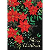 Christmas Poinsettia - Merry Christmas - GARDEN Size, 12 Inch X 18 Inch, Decorative Double Sided Flag Printed in USA - Copyright and Licensed, Trademarked by Custom Décor Inc.