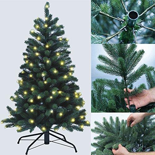 DILUMA Weihnachtsbaum Künstlich 120cm mit LED Beleuchtung - Premium Christbaum aus 100% PE Spritzguss - B1 Zertifizierung schwer entflammbar - Voll-PE Tannenbaum mit Standfuß und Stecksystem