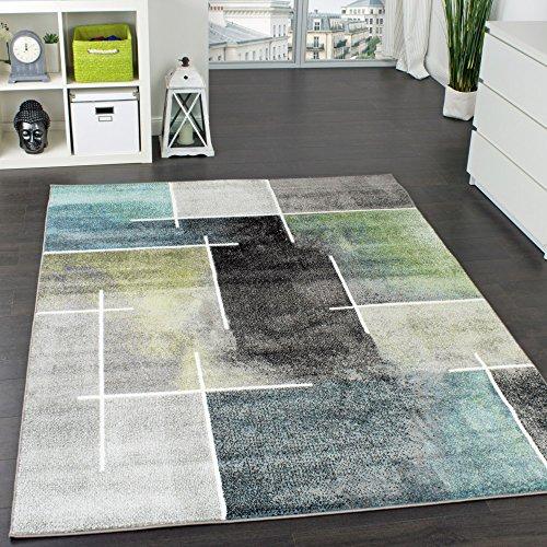 Paco Home Designer Teppich Kariert Modern Trendig Meliert Eyecatcher in Grau Türkis Grün, Grösse:120x170 cm