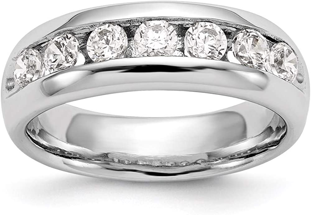 14k White Gold 7-Stone Diamond Max 49% OFF Channel Wedding Size Band Superior Ring 7