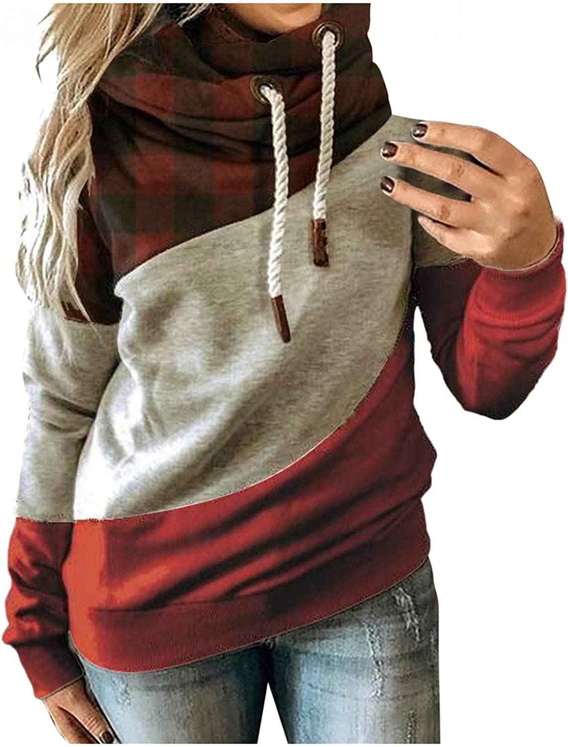 Hoodies for Womens Lightweight Color Block Drawstring Tops Long Sleeve Cowl Neck Pullover Blouse Winter Warm Sweatshirts