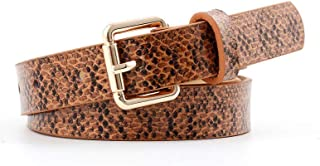 Snakeskin Print Belt For Women/Girl Mental Buckle For Jeans Dress Slim Belts