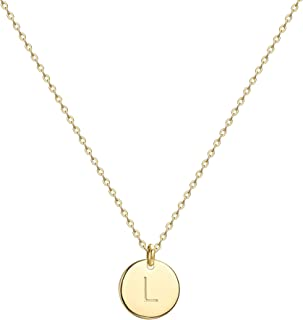 Initial Necklace,14K Gold-Plated Children Necklace Round Disc Double Side Engraved Hammered Name Necklace 16.5'' Adjustable Personalized Alphabet Letter Pendant
