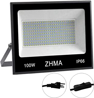 ZHMA 100W LED Work Light,9000lm 6000K Daylight White IP66 Waterproof Super Bright LED Flood Light with Plug, Outdoor Floodlight for Garage, Garden, Lawn,Basketball Court,Playground