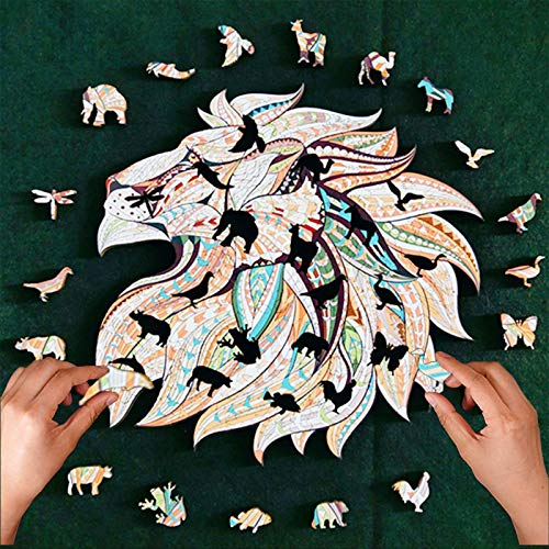 N / N Jigsaw Puzzle Wooden 5mm Thick Wooden Puzzle Toy Lion Wooden Jigsaw Puzzle Large Size Children's Puzzle 175 Pieces, Animal Shaped Jigsaw, Gifts for Mom Dad Toys, Gift for Friend