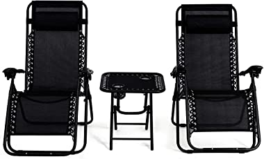 HAPPYGRILL 3pcs Patio Chaise Lounge, Zero Gravity Chairs for Outdoor Yard Recliner Folding Lounge Table Chair