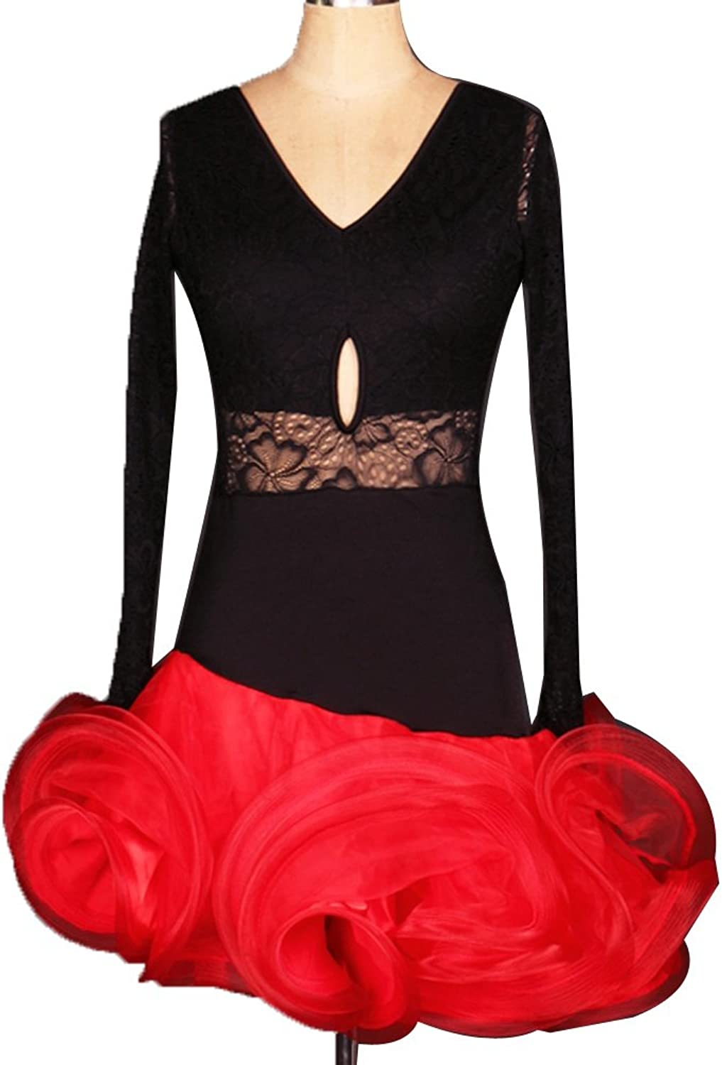 WQWLF Lace Latin Dance Costume For Women V-neck Performance Dancing Outfit Hollow Perspective Back Professional Latin Competition Suit
