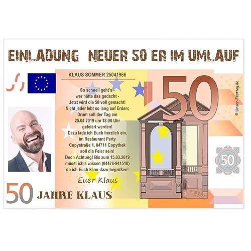 Einladungskarte für Geburtstag plattdeutsch lustig originell Text ändern Tier 50