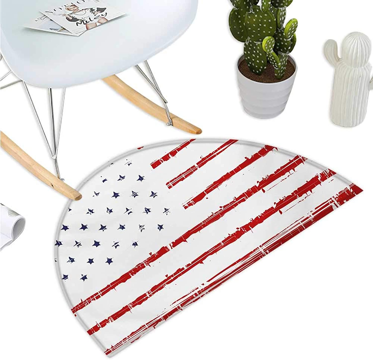 American Half Round Door mats Vector Grunge Texture Flag of United States of America Illustration Print Bathroom Mat H 39.3  xD 59  bluee White and Red