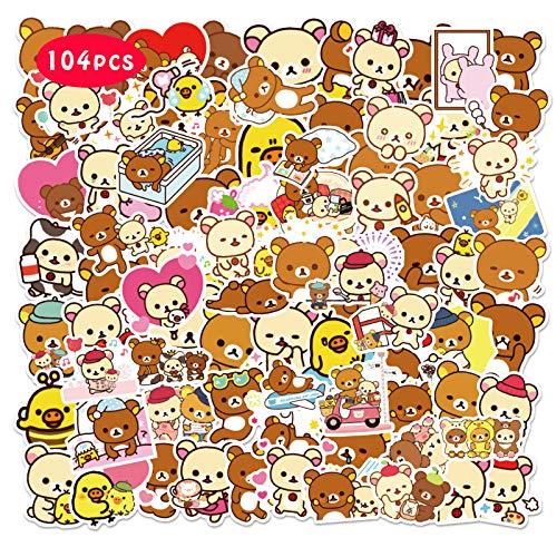 Rilakkum_a Stickers 104PCS Kawaii Japanese Waterproof Graphic Vinyl for Bumper Cars Laptop Scrapbook Guitar Luggage Skateboard Cute Gifts for Rilakkuma Fans
