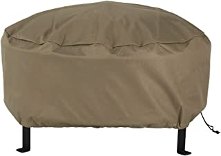 Sunnydaze Outdoor Round Fire Pit Cover - Weather Resistant and Waterproof Heavy Duty Khaki 300D Polyester with Drawstring Closure and PVC Back - 48-Inch