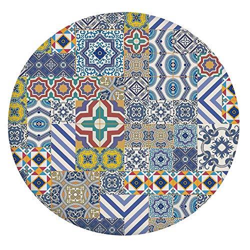 Mantel ajustable de poliéster con bordes elásticos, diseño de mosaico marroquí, estilo patchwork, para mesas redondas de 40 a 44 pulgadas, para comedor y cocina, color azul