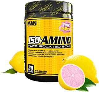 Man Sports Iso Amino Pure Isolated BCAA. Fat Burning Pink Lemonade Flavored BCAA Powder for Muscle Recovery and Lean Muscl...