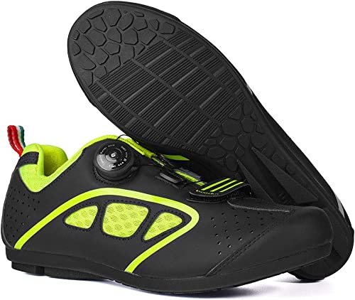 Chaussures d'équitationVolcano Hommes and femmes Unlocked Riding chaussures Breathable Anti-SEnfant Damping Road Bike Ride Non-Lock chaussures 40 noir vert