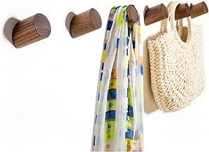 Wall Hooks, Felidio Natural Wood Coat Hooks Wall Mounted (Pack of 2pcs) - Rustic Wall Coat Rack Hat Hooks Robe Hook Entryway Wall Hangers Heavy Duty Hooks for Hanging Towels (Black Walnut)