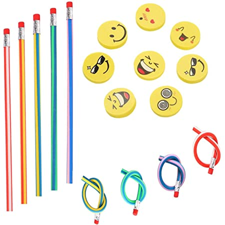 71 piezas Kids Party Bag Set de relleno, Annhao suave flexible Bendy lápices y Emoji Smile Erasers Magic Bend Toys School Fun equipo de papelería ...