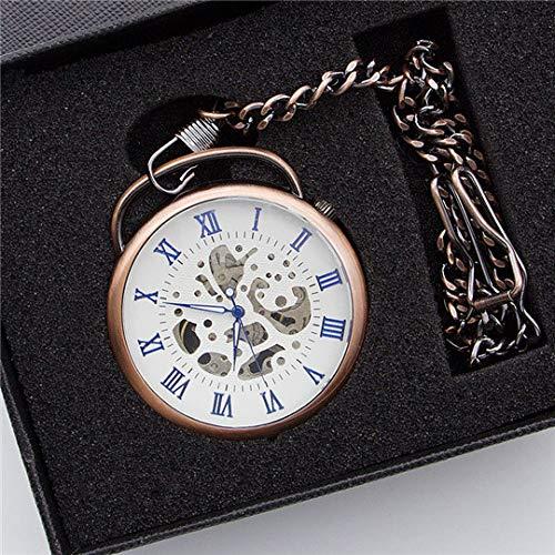 LLXXYY halsketting zakhorloge vintage heren dames kerstcadeau unisex, nieuw rood patina mechanische Romeinse cijfers zakhorloge klassieke steampunk horloge persoonlijkheid geschenkdoos