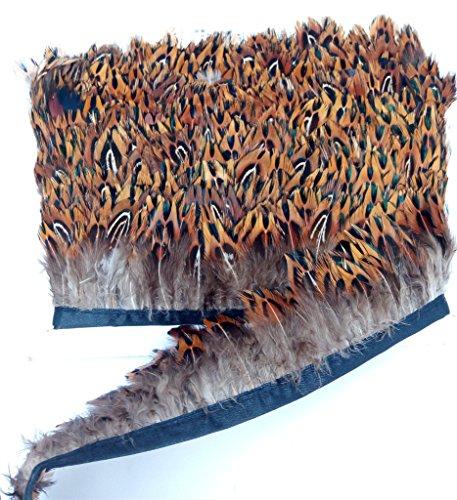ERGEOB Federn Stoffstreifen 2 Meter - Ideen für die Bekleidung, Kostüme, Hüte. braun