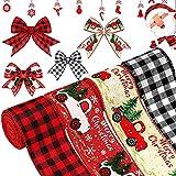 noyydh 4 Rollos de Cintas de Navidad, Cintas alámbricas for envasar artesanías, Cintas for Decorar el árbol de Navidad Feliz, Bricolaje Decoraciones del Partido del árbol de Navidad, 2.5 Pulgadas x 6