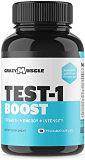 Testosterone Booster for Men and Women (over 1,300mg per capsule) to Increase Low Testosterone Levels in Males by Crazy Muscle - Reverse The Effects of Low Test on Muscle and Fat - 90 Supplement Pills