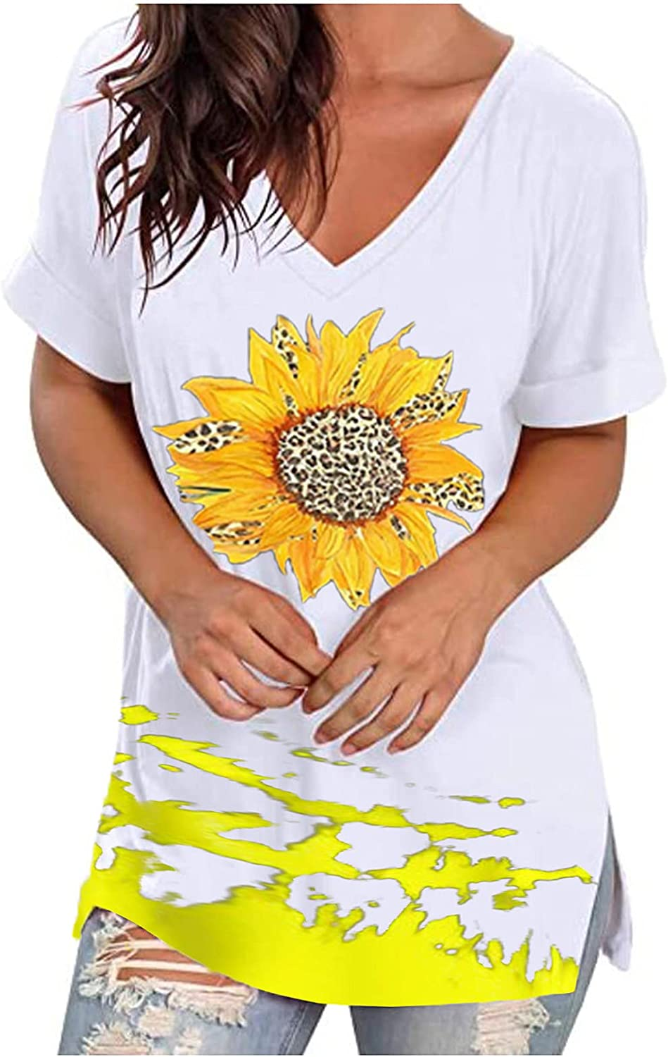 Sunflower Short Sleeve for Women Tie Dye Loose Fit Tees Be Happy Saying T Shirts Cute Graphic Summer Blouses Tops