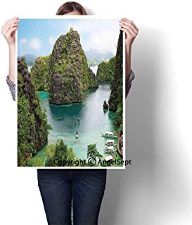 Green Brown Blue Modern Canvas Painting Wall Art,Landscape of Majestic Cliff in Philippines Wild Hot Nature Resort Off Picture(16