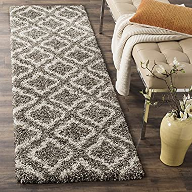 Safavieh Hudson Shag Collection SGH284B Grey and Ivory Moroccan Geometric Runner (2'3  x 8')