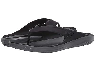 Crocs Swiftwater Wave Flip (Black/Slate Grey) Men