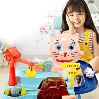 FairOnly Kitten and Mouse Adventure Manual Rail Car Cartoon Animal Taxiing Breakthrough Music Educational Toys Toys
