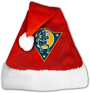 Santa Hat Christmas Hats Xmas Cap with Classic Plush Trim & Comfort Liner for Adults and Kids, Equestrian Horse Racing Jockey