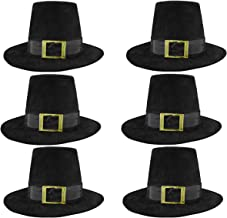 Deluxe Pilgrim Hat Costume Top Hat, (Pack of 6), Black, One Size